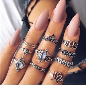 10 piece women vintage lotus rhinestone ring set